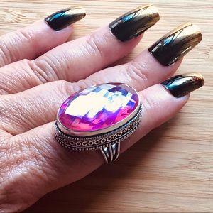 Pink Topaz Gemstone Ring Vintage Style Trillion